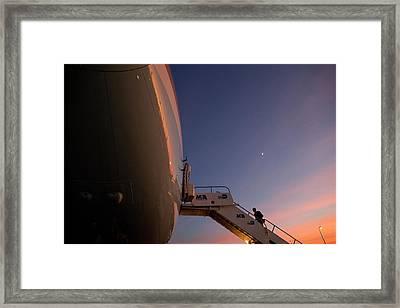 President Obama Boarding Air Force One Framed Print