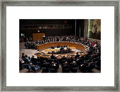 President Obama Chairs A Un Security Framed Print