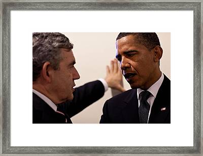 President Obama Confers With British Framed Print by Everett