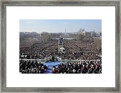 President Obama Delivers His Inaugural Framed Print by Everett