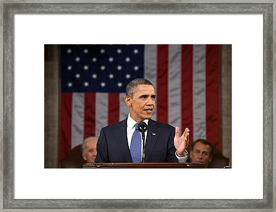 President Obama Delivers His State Framed Print by Everett
