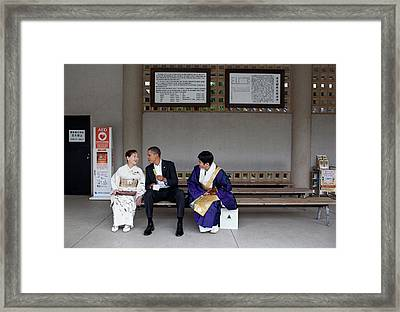 President Obama Enjoying A Green Tea Framed Print