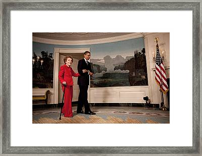 President Obama Escorts Former First Framed Print by Everett