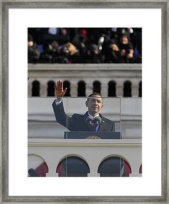 President Obama Gestures As He Delivers Framed Print by Everett