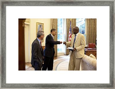 President Obama Gives A Fist-bump Framed Print by Everett