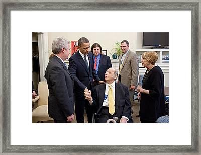President Obama Greets James Brady Framed Print by Everett