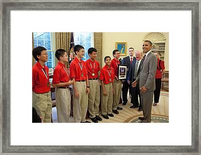 President Obama Greets Mathcounts Framed Print by Everett
