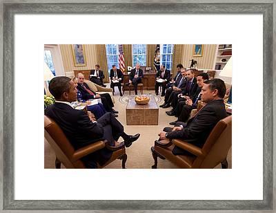 President Obama Holds Meeting Framed Print by Everett