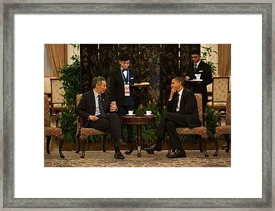President Obama In A Meeting Framed Print by Everett
