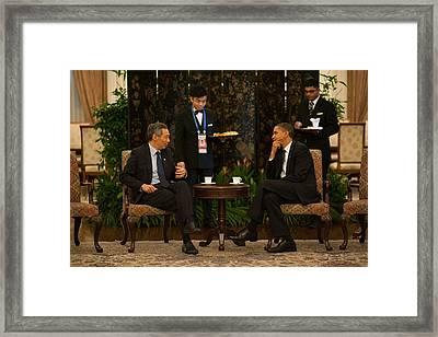 President Obama In A Meeting Framed Print