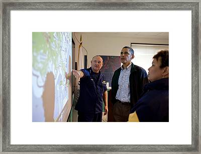President Obama Is Briefed By Admiral Framed Print