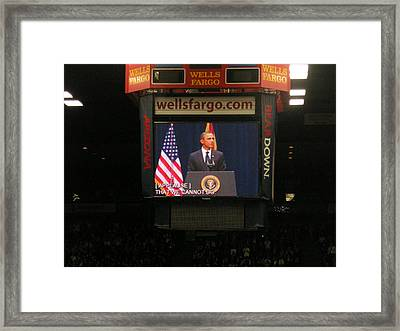 President Obama Mchale Center 2  Framed Print by Jayne Kerr