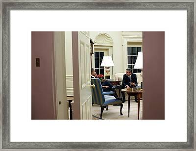 President Obama Meets With Activist Framed Print