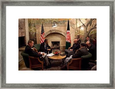 President Obama Meets With Afghan Framed Print
