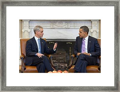 President Obama Meets With Chicago Framed Print