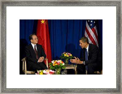President Obama Meets With Chinese Framed Print