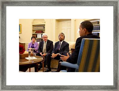 President Obama Meets With Civil Rights Framed Print