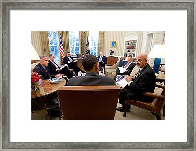 President Obama Meets With Director Framed Print by Everett