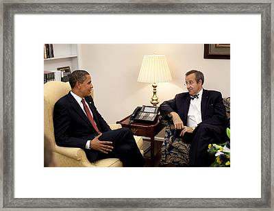 President Obama Meets With Estonian Framed Print