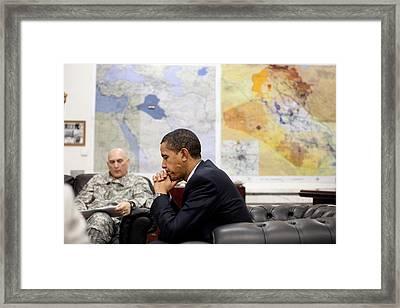 President Obama Meets With Gen. Raymond Framed Print by Everett