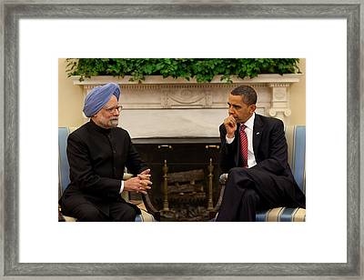 President Obama Meets With Indian Prime Framed Print