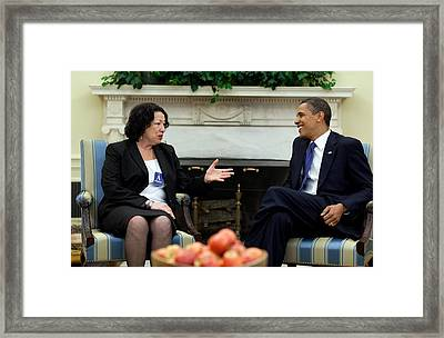 President Obama Meets With Judge Sonia Framed Print by Everett