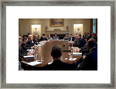 President Obama Meets With Members Framed Print