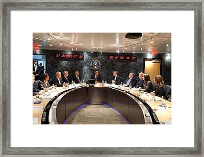 President Obama Meets With Nctc Framed Print by Everett