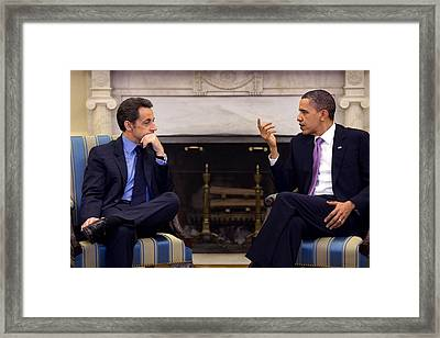 President Obama Meets With President Framed Print by Everett