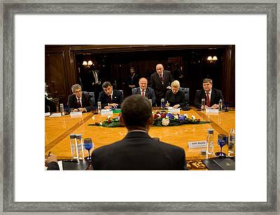 President Obama Meets With Russian Framed Print