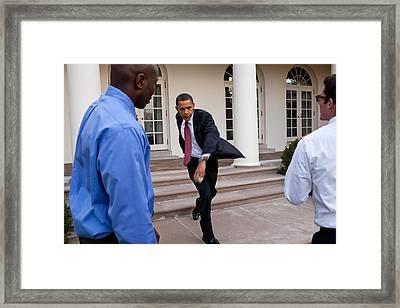 President Obama Practices Framed Print by Everett