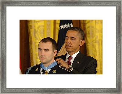President Obama Presents The Medal Framed Print by Everett