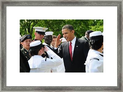 President Obama Salutes A Sailor Framed Print by Everett