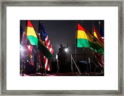 President Obama Speaks To The Crowd Framed Print