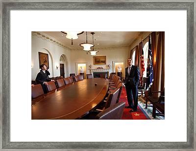 President Obama Surveys The Cabinet Framed Print
