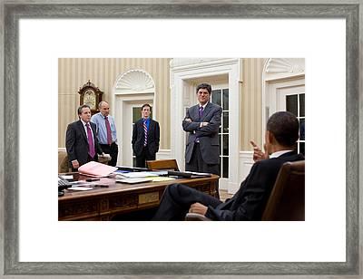 President Obama Talking Framed Print by Everett