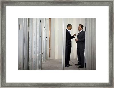 President Obama Talks With Gov Framed Print