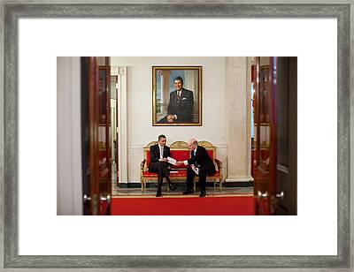 President Obama Talks With His New Framed Print