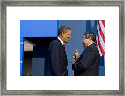 President Obama Talks With Indonesian Framed Print