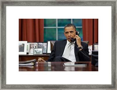 President Obama Talks With Janet Framed Print