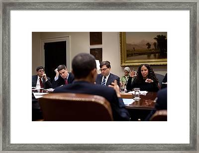 President Obama Talks With Mona Sutphen Framed Print by Everett