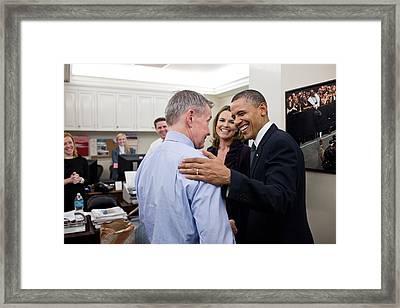 President Obama Talks With White House Framed Print