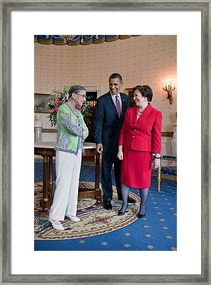 President Obama Visits With Justice Framed Print by Everett
