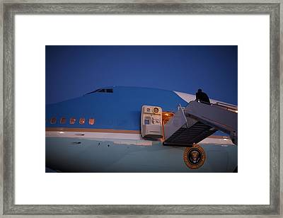 President Obama Walks Up The Stairs Framed Print