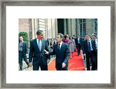 President Obama Walks With French Framed Print by Everett