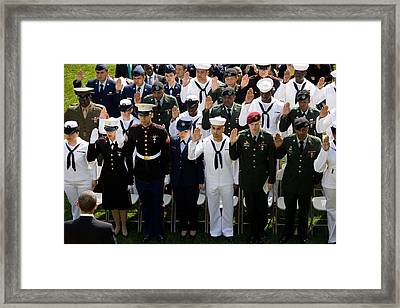 President Obama Watches As Active Duty Framed Print