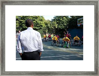President Obama Watches The National Framed Print by Everett
