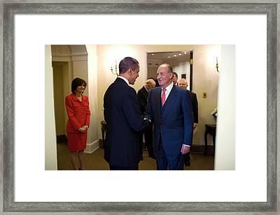 President Obama Welcomes King Juan Framed Print