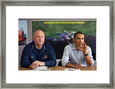 President Obama With Coast Guard Framed Print by Everett