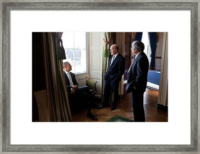 President Obama With Interim Chief Framed Print